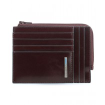 Bustina portamonete documenti card RFID BLUE SQUARE MOGANO