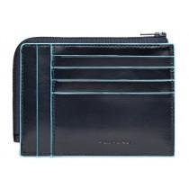 Bustina portamonete documenti 8 card RFID Blue Square blu notte