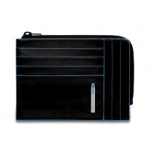 Bustina portamonete documenti 8 card RFID Blue Square Nero