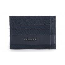 Bustina porta 6 carte di credito tascabile Tokyo Blu