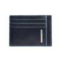 Bustina porta 6 carte di credito tascabile RFID Blue Square Blu Notte