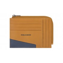 Bustina portamonete documenti 8 card RFID Hakone Tabacco Blu