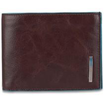 Portafoglio uomo portadocumenti e monete RFID BLUE SQUARE MOGANO