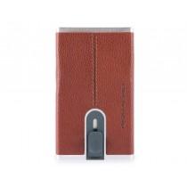 Porta carte di credito con sliding system RFID Black Square Cuoio Tabacco