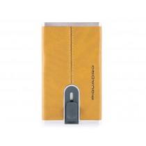 Porta carte di credito con sliding system RFID Black Square Giallo