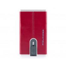 Porta carte di credito con sliding system e porta banconote RFID Blue Square Rosso