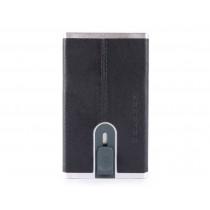Porta carte di credito con sliding system e porta banconote RFID Black Square Blu Notte