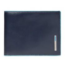 Portafoglio uomo porta 12 carte di credito RFID Blue Square Blu