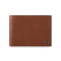 Portafoglio uomo con portamonete e porta 4 carte di credito RFID Black Square Cuoio Tabacco