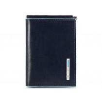 Portafoglio uomo verticale piccolo con fermasoldi e 4 porta card Blue Square Blu