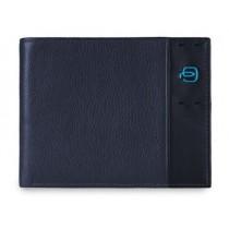 Portafoglio uomo in pelle con dodici scomparti porta carte di credito blu